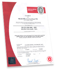 ISO 9001 and 13485 certification